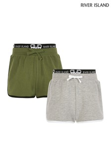River Island Khaki Runner Shorts Two Pack