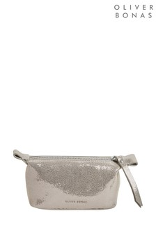 Oliver Bonas Gold Metallic Lizard Texture Mini Make-Up Bag