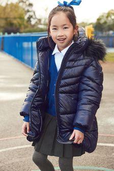 Непромокаемая длинная дутая куртка с отделкой искусственным мехом (3-16 лет)