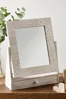 Etched Tile Print Vanity Mirror