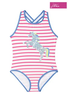 Joules Pink Briony Luxe Appliqué One Piece Swimsuit