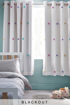 Pom Pom Eyelet Blackout Curtains