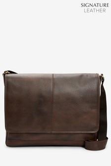 حقيبة ماسنجر جلد من مجموعة Signature