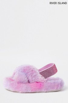 River Island Pink Medium Mg Ombre Fur Slippers