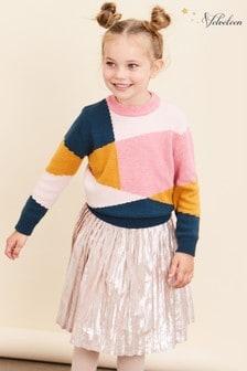 Velveteen Pink Paola Pleated Midi Skirt