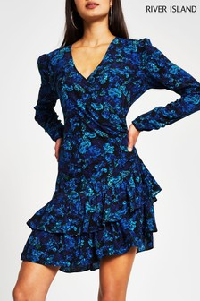 River Island Blue Floral Frill Hem Asym Dress