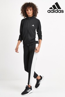 adidas Black 3 Stripe Team Sports Tracksuit