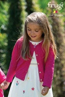 Frugi Organic Cotton Pink Pointelle Cardigan