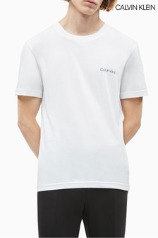 Calvin Klein ホワイト チェストロゴ Tシャツ
