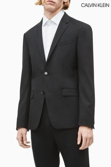 Calvin Klein Black Stretch Wool Slim Blazer