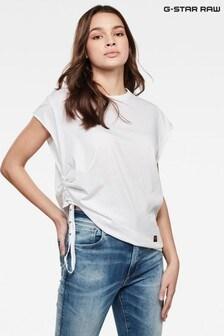 חולצת טי עם קשירה של G-Star דגם GSRAW Gyre בלבן