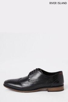 حذاء مخرم جلد Roger أسود من River Island