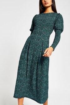 שמלת מידי מנומרת עם שרוול נפוח של River Island בנייבי