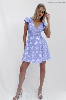 French Connection Blue Arabella Crepe Printed Wrap Dress