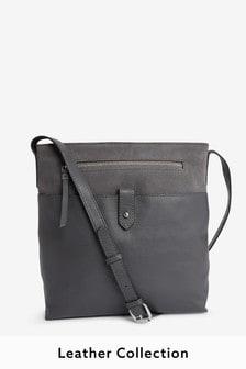 Кожаная сумка-мессенджер с длинным ремешком