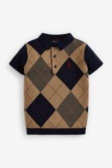 Рубашка поло с ромбовидным узором (3-16 лет)
