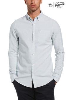 Original Penguin® Blue Slim Fit Cotton Oxford Striped Shirt