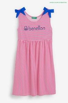 Benetton Gestreiftes Kleid, Rot