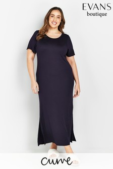 Evans Curve Navy Long Nightdress