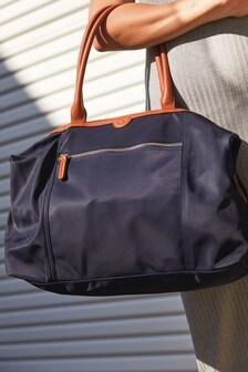 Nylon PU Handle Shoulder Bag