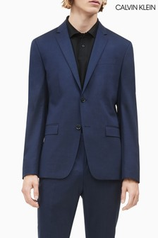 Calvin Klein Blue Stretch Wool Slim Blazer