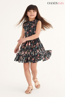 Oasis Dark Floral Ruffle Midi Dress