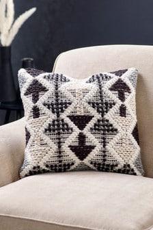 Charcoal Indoor/Outdoor Recycled Borra Tufted Geo Cushion