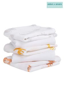מארז 5 ריבועי מוסלין של aden + anais דגם Essentials Swaddle בלבן