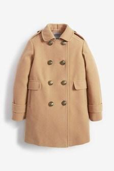 Строгое пальто в стиле милитари (3-16 лет)