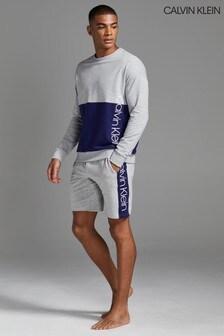 Calvin Klein灰色品牌滾邊短睡褲