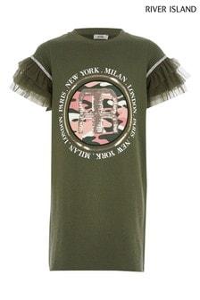 Kaki tričko so sieťovinovým rukávom a potlačou River Island