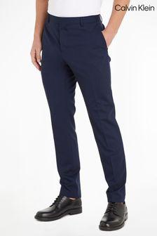 Calvin Klein Blue Stretch Wool Slim Trousers