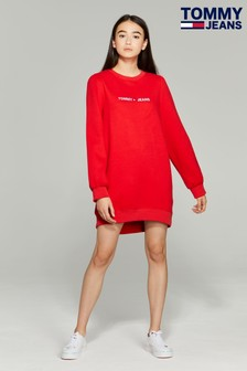 Tommy Jeans Red Heart Linear Logo Sweat Dress