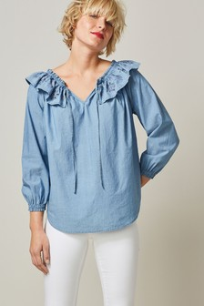 Embroidered Frill Off The Shoulder Blouse