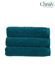 Set of 2 Christy Green Honeycomb Geometric Towels