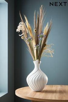 Large Pleated Ceramic Vase