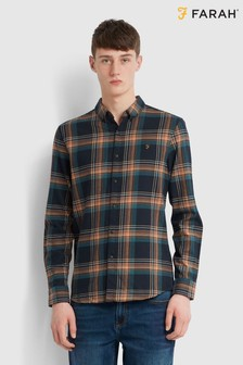 Farah Green Butterfield Long Sleeve Check Shirt