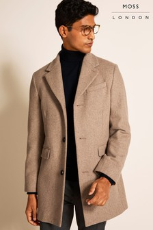 Moss London修身剪裁麥色長大衣