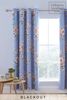 Canterbury Floral Blackout Eyelet Curtains by Catherine Lansfield