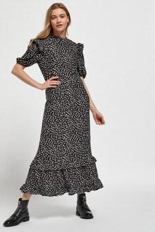 Платье миди с оборкой по краю