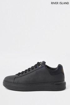 River Island Black Wedge Drench Trainers