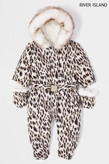 River Island Brown Leopard Print Snowsuit