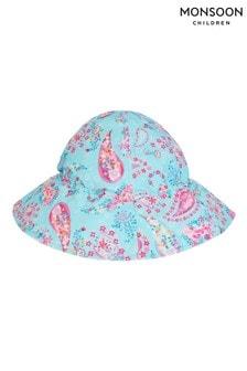 Monsoon藍色嬰兒裝旋渦印花太陽帽
