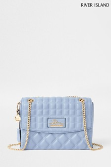 River Island Blue Quilted Satchel