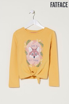 FatFace Yellow Embroidery Detail Graphic T-Shirt