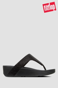 Czarne sandały japonki z połyskującymi kryształkamiFitFlop™ Lottie