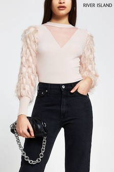 River Island Pink Feather Sleeve Top