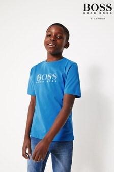 Modré tričko s logom BOSS