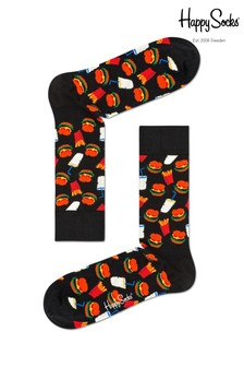 Happy Socks Black Hamburger Print Socks