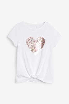 Flippy Sequin Heart T-Shirt (3-16yrs)